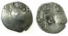 World Coins - SERBIA.Stefan VIII Uros IV Dusan as Emperor with Helena Empress consort AD 1345-1355.AR.Dinar. Bulgarian countermark Bird