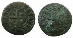 World Coins -  CRUSADER STATES.CYPRUS under VENICE.Pietro Loredano AD 1567-1570. AE.Sezino ( Da quartro carzie per Cipro )
