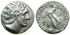 Ancient Coins - PTOLEMAIC EMPIRE.CYPRUS.Ptolemy VIII Euergetes II 145-116 BC.AR.Tetradrach,, struck 138/7 BC.Mint of KITION. **** Varient with helmet in field****