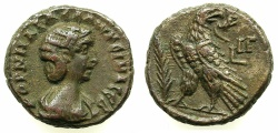 Ancient Coins - EGYPT.ALEXANDRIA.Cornelia Salonina, wife of Gallienus AD 253-268.Billon Tetradrachm, struck AD 265/66.~#~. Eagle standing on thunderbolt.