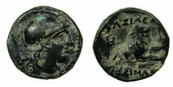 Ancient Coins - THRACE, of Kingdom. Lysimachus 306-281 BC.AE.15mm. Athena.Forepart of Lion.