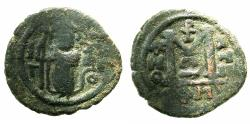 Ancient Coins - ARAB-BYZANTINE.Anonymous.7th cent AD.AE.Fals .Damascus mint. Palm branch