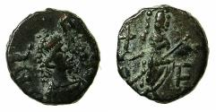 Ancient Coins - ROMAN.Leo I and Verinia AD 457-474.AE.Nummis. Mint of CONSTANTINOPLE.Reverse. Empress standing.