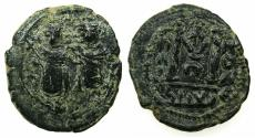 Ancient Coins - ARAB BYZANTINE.Anonymous 7th AD.AE.Fals. Two Standing Imperial figures.Mint of BAALBEK / HELIOPOLIS.