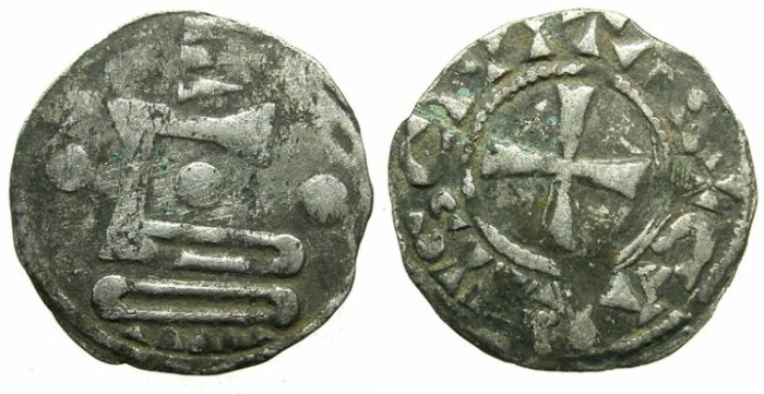 Ancient Coins - CRUSADER.FRANCE.CHARTERS.Anonymous immobolized type.Bi.Denier.Late 11th early 12th cent AD.