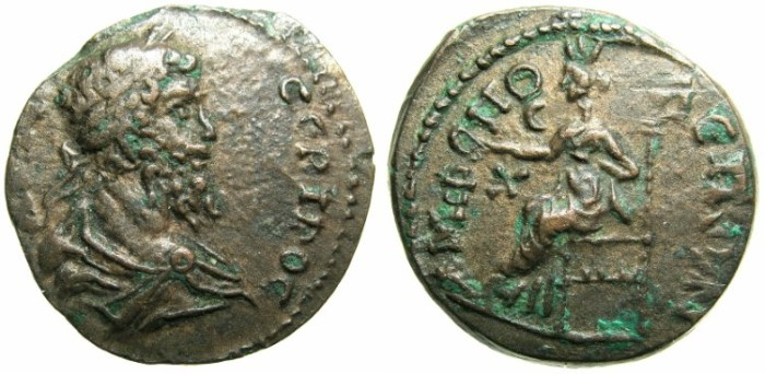 Ancient Coins - MACEDON.AMPHIPOLIS.Septimius Severus AD 193-211.AE.21.Tyche seated.