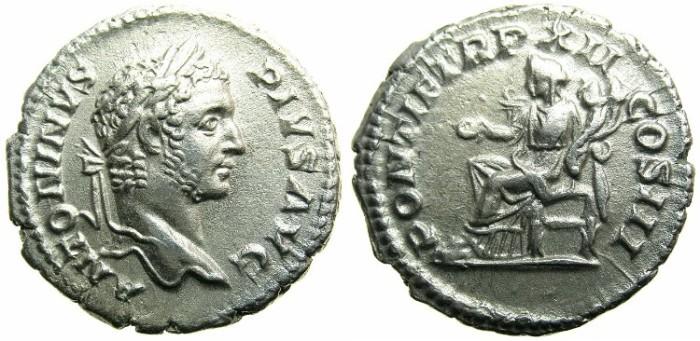 Ancient Coins - ROMAN.Caracalla Augustus AD 209-211.AR.Denarius AD 209.~~~CONCORDIA seated.