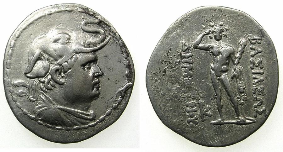 Ancient Coins - INDO-GREEK.BAKTRIA.Demetrios I circa 200-185 B.C.AR.Drachma.~#~.Herakles standing.