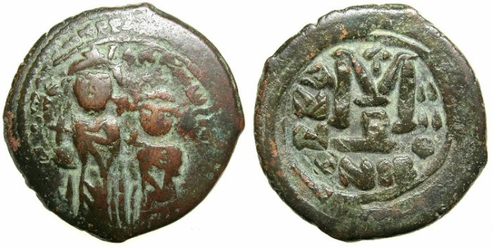 Ancient Coins - BYZANTINE EMPIRE.Heraclius AD 610-641.AE.Follis, Struck AD 613/614.Mint of NICOMEDIA.