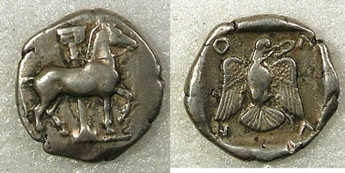 Ancient Coins - Macedon Olynthos Circa 432BC AR Tetrobol Horse/Eagle with snake