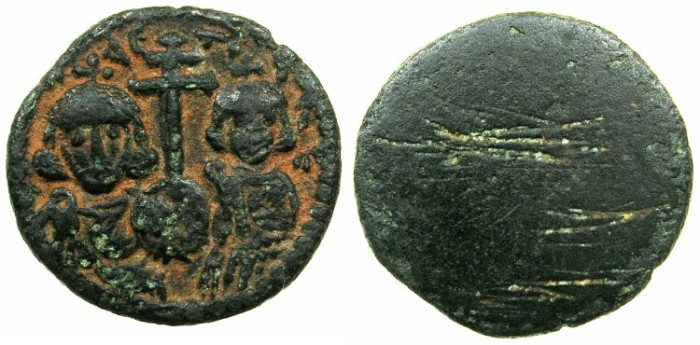 Ancient Coins - BYZANTINE EMPIRE.Justinian II 2nd reign with Tiberius AD 705-711.AE.Follis, turned into Dirhem coin weight?.