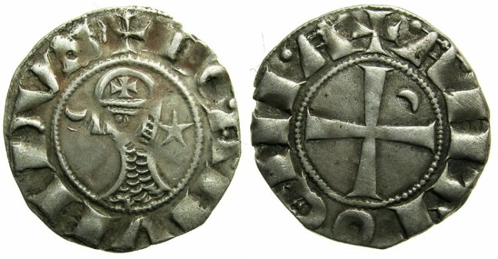 Ancient Coins - CRUSADER.Principality of  Antioch. Bohemond III or IV c.1149-1233 Bi.Denier Class E~~~Re-worked die.
