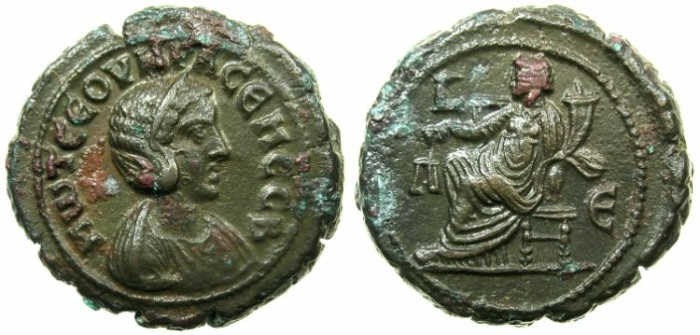 Ancient Coins - EGYPT.ALEXANDRIA.Otacilia Severa AD 244-249.Billon Tetradrachm, struck AD 247/248. ~#~.Dikaiosyne seated.