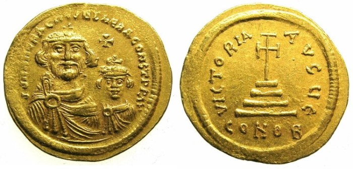 Ancient Coins - BYZANTINE EMPIRE.Heraclius AD 610-641 and Heraclius Constantine Augustus from AD 613.AV.Solidus. Mint of CONSTANTINOPLE