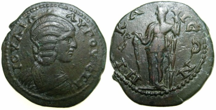 Ancient Coins - BITHYNIA.NICAEA.Julia Domna, wife of Septimius Severus AD 193-211.AE.28.7mm.~#~.Demetra standing.