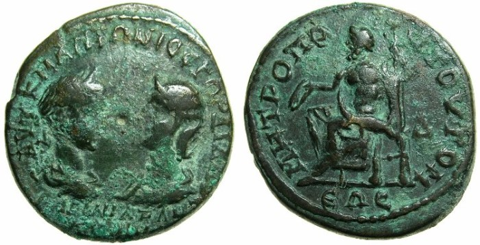 Ancient Coins - MOESIA INFERIOR.Gordian III 238-244 and Tranquillina from AD 241.AE.4 Assaria.Mint of TOMIS.~#~.Zeus enthroned.