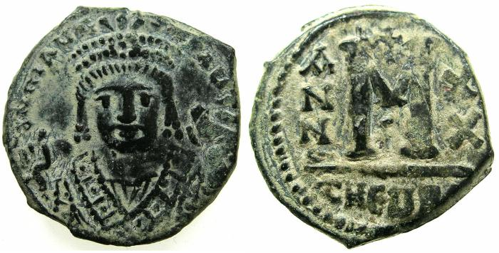 Ancient Coins - BYZANTINE EMPIRE.Maurice Tiberius AD 582-602.AE.Follis, struck AD 601/02.Mint of ANTIOCH-THEOUPOLIS.