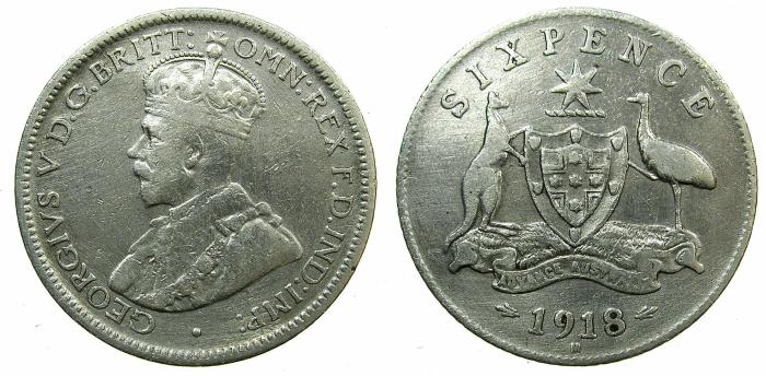 World Coins - AUSTRALIA.George V.AR.Six pence.1918M.