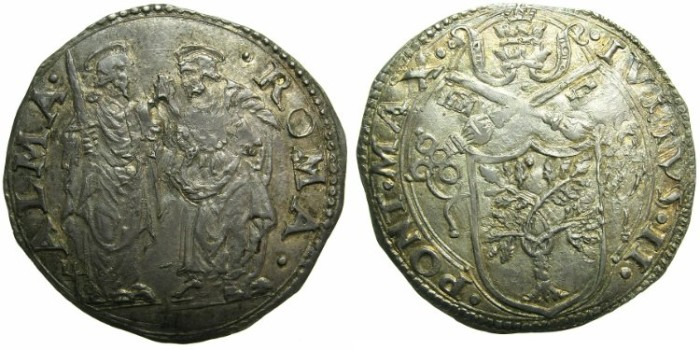 Ancient Coins - ITALY.VATICAN.Pope Julius II AD 1503-1513.AR.Giulio N.D.Mint of ROME.~~~Saints Peter and Paul standing.