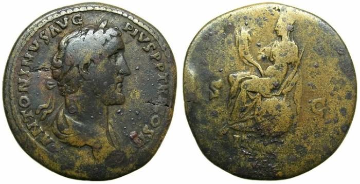 Ancient Coins - ROMAN.Antoninus Pius AD 138-161.AE.Sestertius.Struck AD 143/144. ITALIA