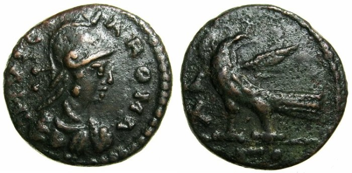 Ancient Coins - OSTROGOTHIC.Rome.Non regal issue of Theodoric and Athalaric.AE.Follis.~#~Nice portrait of ROMA.