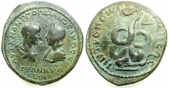Ancient Coins - THRACE.TOMIS.Gordian III and Tranquillina AD 241-244.AE.4 1/2 Assaria.~#~.Snake showing coils.