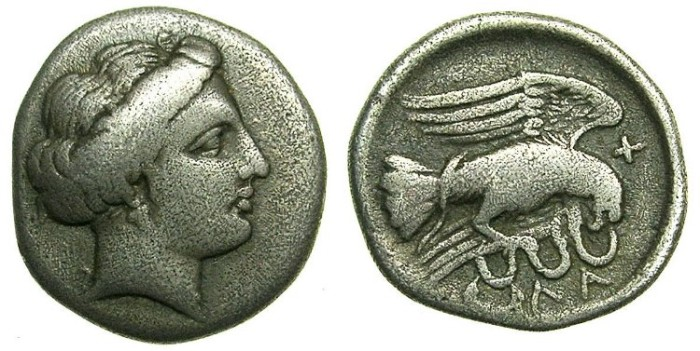 Ancient Coins - EUBOEA.CHALKIS.Circa 338-308 BC.AR.Drachma.Nymph Chalkis.Eagle and snake.