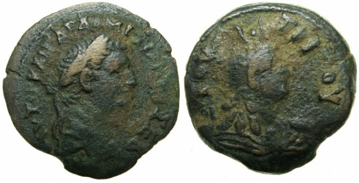 Ancient Coins - EGYPT.ALEXANDRIA.Domitian AD 82-96.AE.Diobol struck AD 83/84.~#~Bust of Isis.