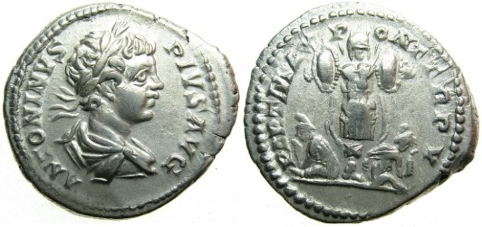 Ancient Coins - ROMAN.Caracalla Augustus AD 198-209.AR.Denarius undated c.AD 202.~~~Trophy with captive either side.