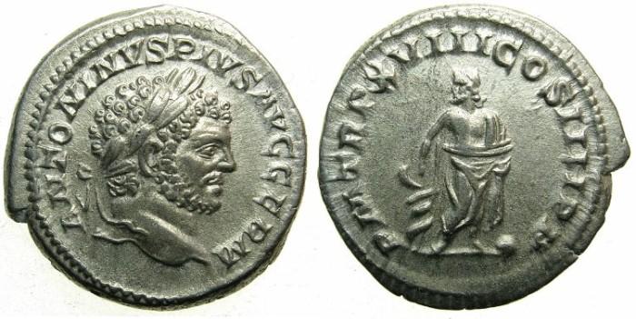Ancient Coins - ROMAN.Caracalla Sole Emperor AD 212-217.AR.Denarius AD 215.~~~Aesculapius standing.