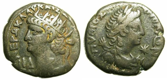 Ancient Coins - EGYPT. ALEXANDRIA.Nero AD 54-68.Bi.Tetradrachm.~#~ Bust of Pythian Apollo.