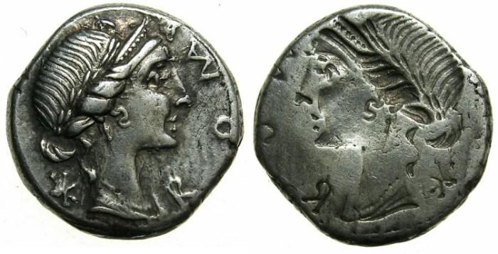 Ancient Coins - ROMAN REPUBLIC.Mn Aemilius Lepidus 114 or 113 BC.AR.Denarius.~#~Obverse brockage.