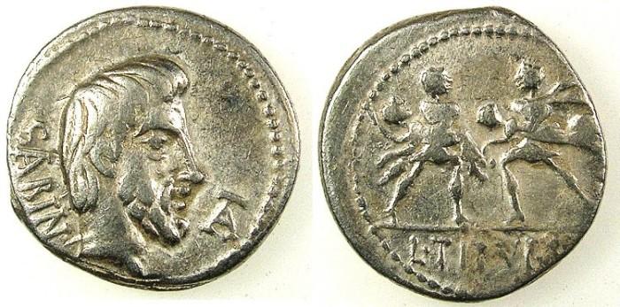 Ancient Coins - ROME.REPUBLIC.L.Titurius L.f.Sabinus.89 BC.AR.Denarius.Head of King Tatius.Rev.'Rape of the Sabine Women'