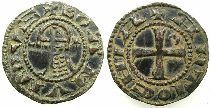World Coins - CRUSADER STATES.Principality of Antioch. Bohemond IV 1201-1233 or Bohemond V 1233-1251 Bi.Denier.Class 0.