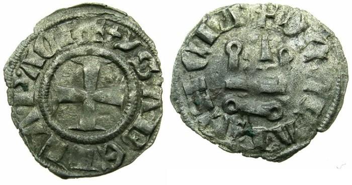 World Coins - CRUSADER STATES.GREECE.Principality of ACHAIA.Isabella of Villehardouin AD 1289-1297.Billon Denier.Type Y3