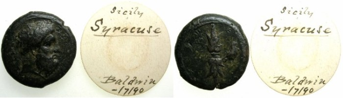 Ancient Coins - SICILY.SYRACUSE.C.332-317.AE.25.Zeus Eleftherios.Rev.Thunderbolt and eagle.