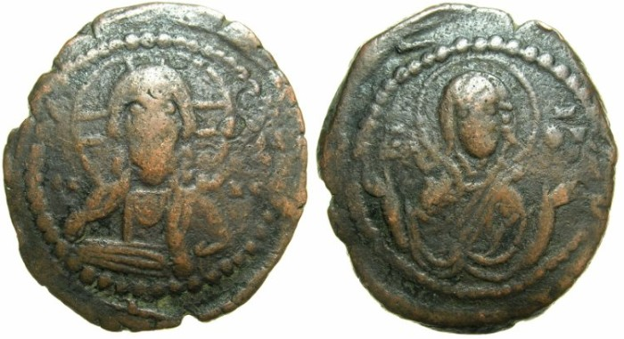 Ancient Coins - BYZANTINE EMPIRE.Anonymous.AE.Follis.Class G.Mint of CONSTANTINOPLE.~~~Bust of Christ.~#~Virgin Orans.