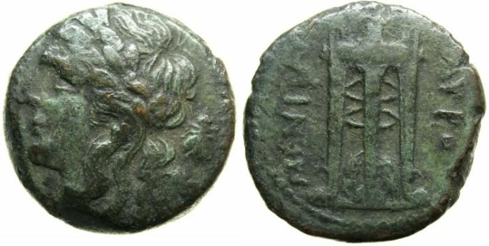 Ancient Coins - SICILY.TAUROMENITAN.Circ 275-210 BC.AE.23.Apollo,bee.Tripod.