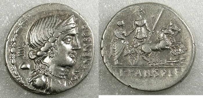 Ancient Coins - ROME Republic L.Farsuleius Mensor 75 BC AR.Denarius