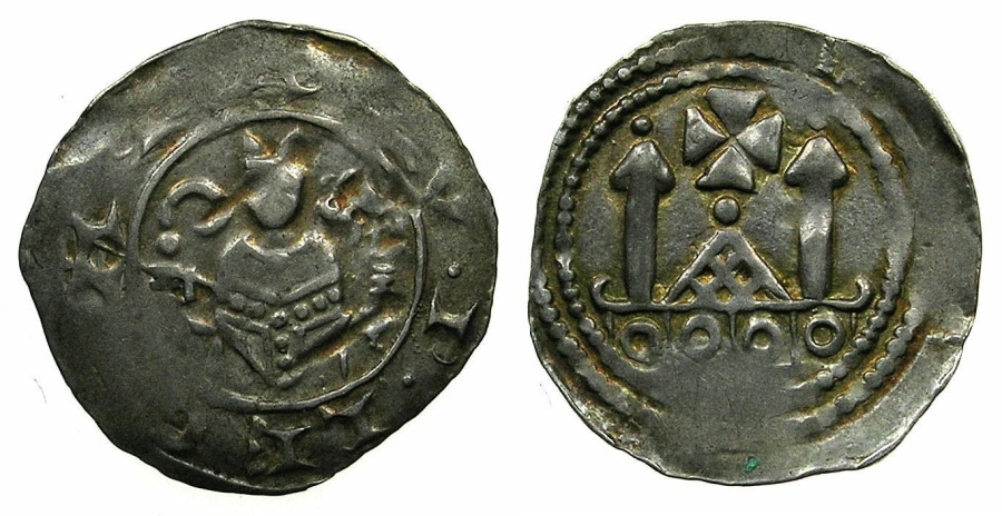 World Coins - ITALY.Patriachy of AQUILEIA. Anonymous attributed to Gotifredo AD 1182-1194.AR.Denaro.