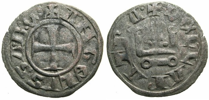 Ancient Coins - CRUSADER STATES.GREECE.Duchy of NEOPATRAS.John II Angelus-Comnenus AD 1303-1318.Bi.Denier
