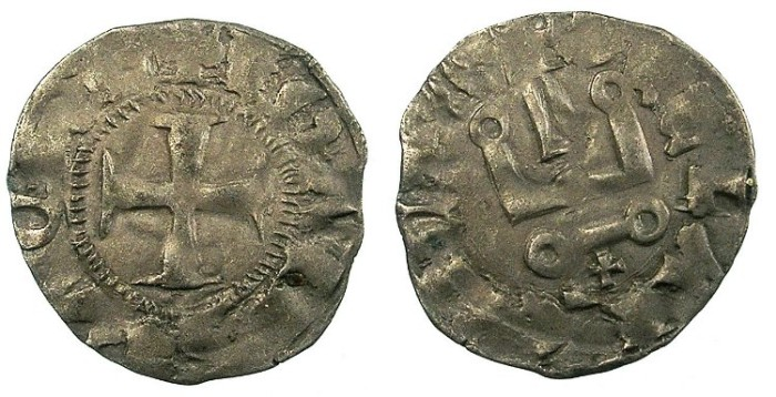Ancient Coins - CRUSADER.Principality of ACHAIA.Jean of Anjou-Gravina 1318-1333.Bi.Denier.Type B.Cross below chatel
