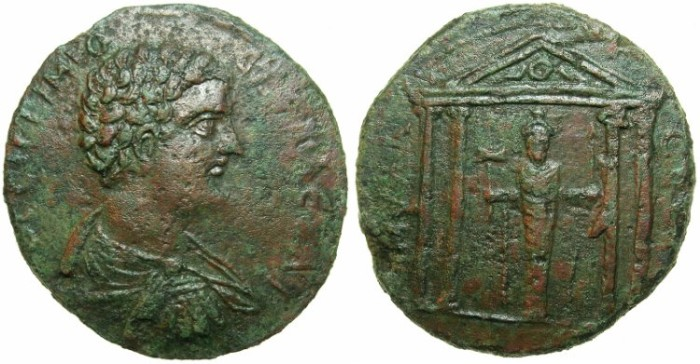 Ancient Coins - CARIA.MYLASA.Geta Caesar AD 198-209.AE.35mm.~#~.Zeus-Labraundus standing within tetrastyle temple.