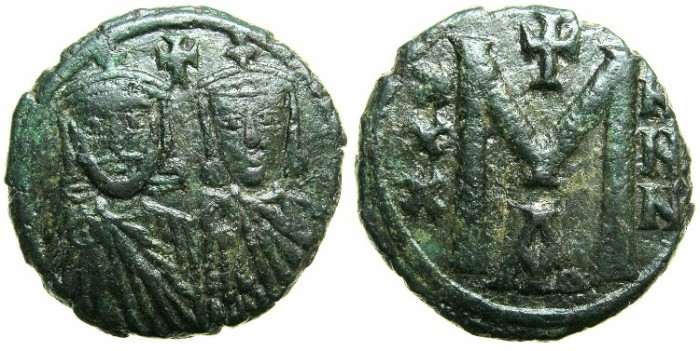 Ancient Coins - BYZANTINE EMPIRE.Nicephorus I and Staracius Augustus AD 803-811.AE.Follis.Mint of CONSTANTINOPLE.