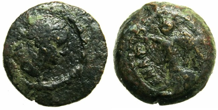 Ancient Coins - EGYPT.ALEXANDRIA.Vespasian AD 69-79.AE.Dichalkon.AD 76/77.~~~NIKE standing left.~~~VERY RARE.