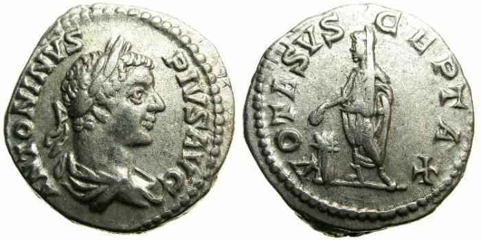 Ancient Coins - ROME.Caracalla Augustus AD 198-211.AR.Denarius Undated issue Group I.Circa AD 201-206.~#~VOTA SVSCEPTA X