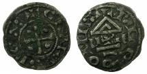 World Coins - FRANCE.PROVINCIAL.Lens-le-Saunier.11th cent AD.AR.Denier.Immobolized type after Charles the Simple for Blainville-sur-Nied mint.