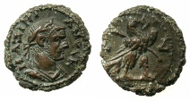 Ancient Coins - EGYPT.ALEXANDRIA.Maximianus Gallerius AD 293-311, as Caesar AD 293-305.Billon Tetradrachm, struck AD295/6. ~#~.Eagel standing right on thunderbolt.