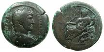 Ancient Coins - EGYPT.ALEXANDRIA.Hadrian AD 117-138.AE.Drachma.struck AD 131/32.~#~.Nilus reclining, crocodile on rocks.