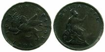 World Coins - GREECE.IONION ISLANDS, under Bristish Administration.AE.1 Lepton 1834 dot.Figure 4 without serifs.
